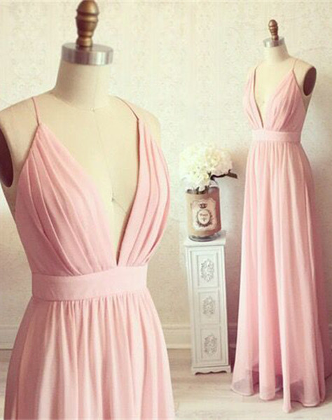 Spaghetti Straps Deep V-neck Evening Gown Chiffon   Summer Party Dress CE0076