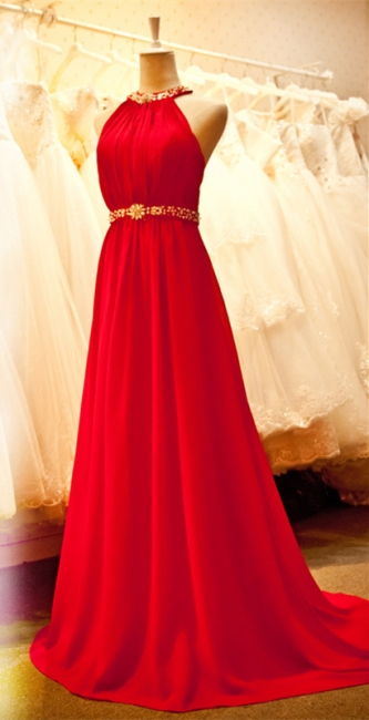 Sexy Bright Red Chiffon Halter Prom Dresses with Crystal Sash Long Train Ruffles Custom Made Evening Gowns CJ0146