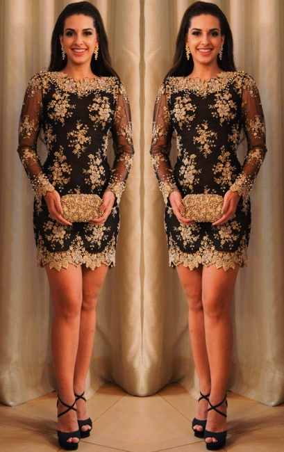 Gold Lace Little Black  Hoco Dresses | Sheer Tulle Long Sleeve Short Homecoming Dress