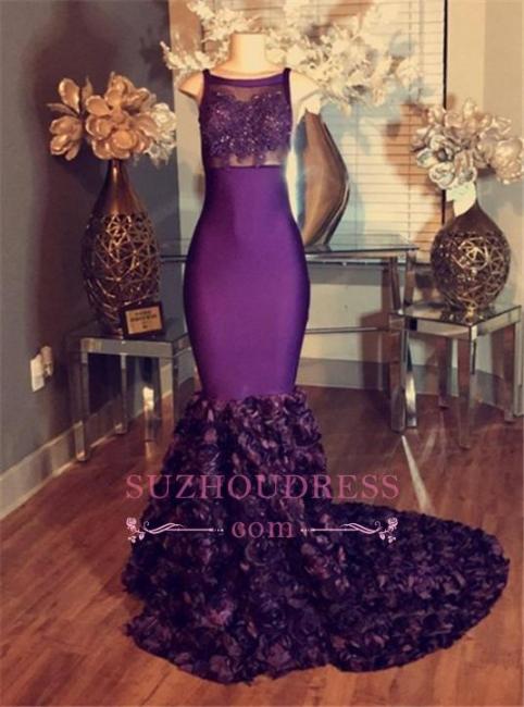 dresses Prom Sleeveless Purple Mermaid Long Lace-Applique with Flower-Train  BA5119