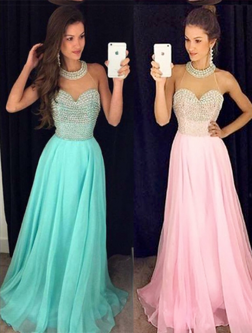 A-line Halter Chiffon Prom Dress With Beading Crystals A-line Open Back Evening Gowns