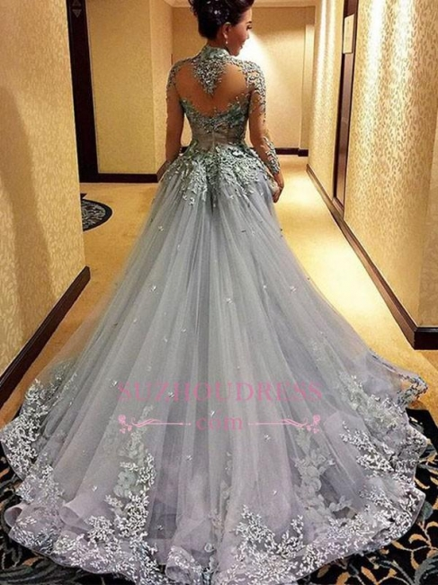 Modest Tulle Long-Sleeves High-Neck Appliques Prom Dress