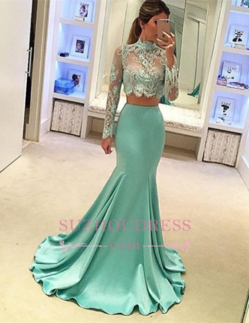 Mint Long Sleeves Mermaid Long Two Piece High Neck Prom Dresses  AN0