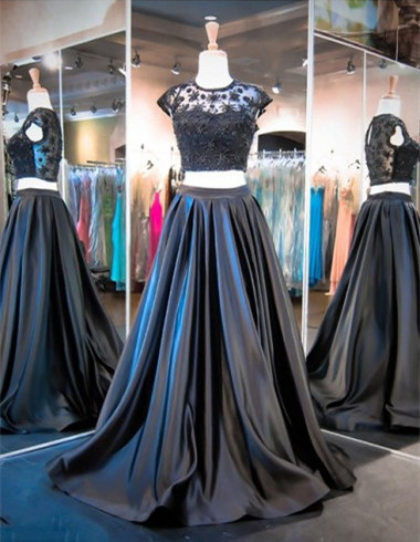 Elegant Cap Sleeve Two Piece Prom Dress New Arrival Sweep Train Evening Gowns