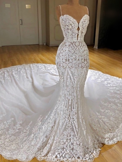 Glamorous Spaghetti Straps Appliques Wedding Dresses Lace Mermaid Bridal Gowns Online