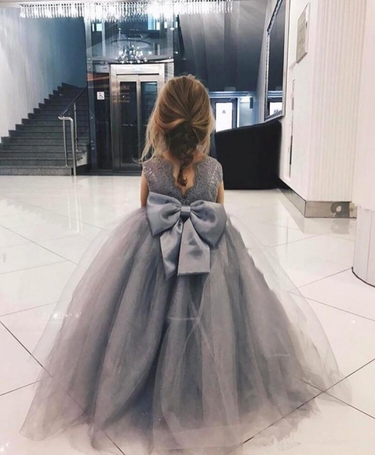 Cute Tulle Flower Girl Dress  |  Lace Bowknot Girls Pageant Dresses Lovely