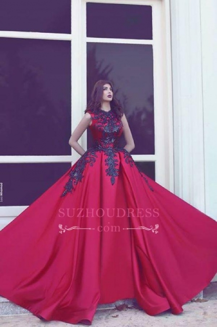 Elegant Red High Neck Sleevess Evening Dresses  Long Train Black Lace Prom Dresses MH078