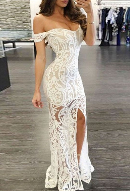 Off The Shoulder Lace Sexy Evening Dress Split Illusion Sheath Formal Dress