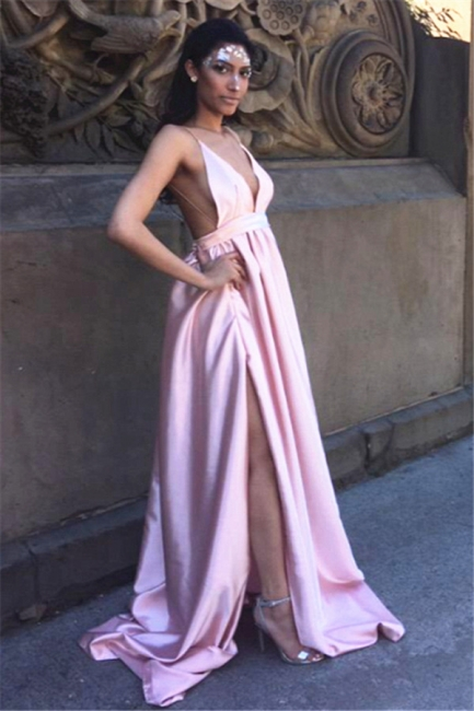 Sexy Backless Simple Evening Dresses  V-neck Side Split Prom Dress in Satin BA5405