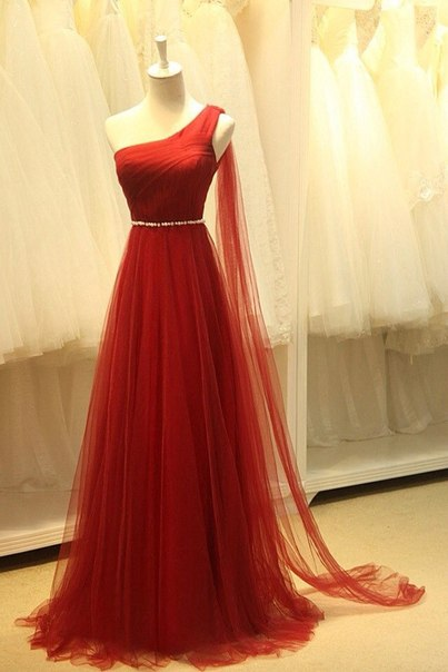 Elegant One Shoulder Evening Dresses Sheer Tulle Ruffles Dark Red Elegant Prom Dresses
