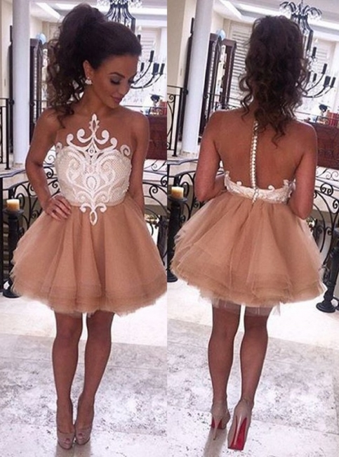 Sheer Tulle Appliques Champagne Homecoming Dresses   Short Evening Dress HC0023