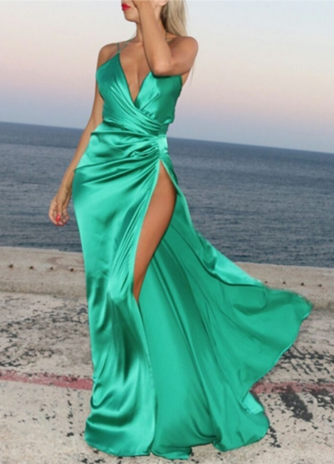Spaghetti Strap V-Neck  Party Dresses Latest Side Split  Evening Gown AE0105