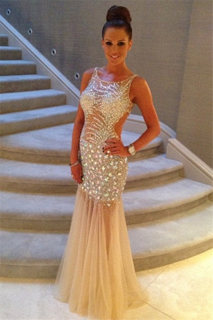 Sexy Crystal Mermaid  Evening Dress Sparkly Beading Tulle Open Back Party Dresses CE0149