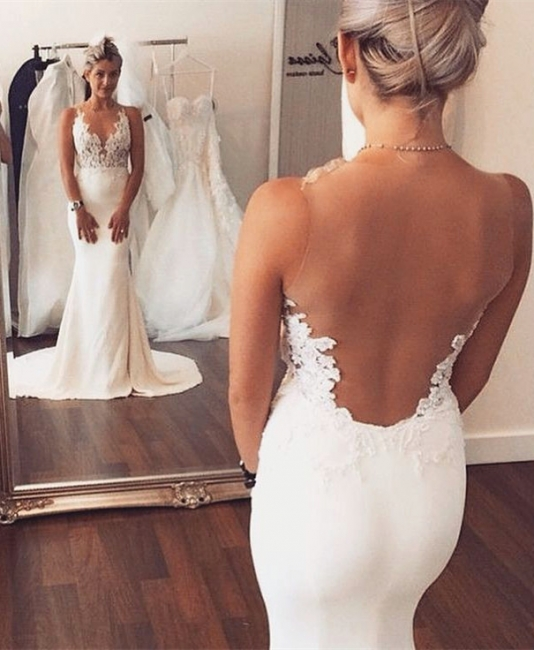 Sheer back Mermaid Wedding Dress Sleeveless Lace summer Beach Wedding Gowns BA3612