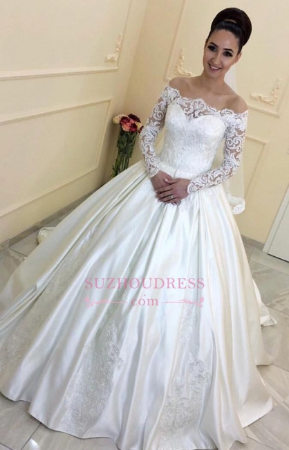 Off-the-Shoulder Sweep-Train  A-line Lace Long-Sleeves Wedding Dresses BA7381