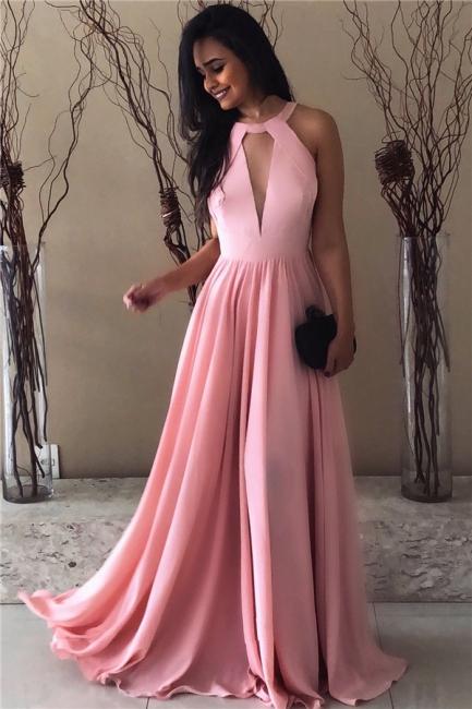 Sexy Pink Chiffon Formal Dresses | Open Back Sleeveless  Evening Dress