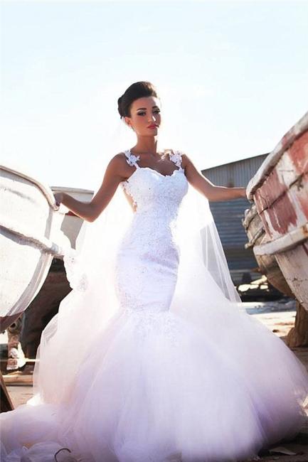 Sexy Mermaid Lace Straps Wedding Dress  Sweetheart Sheer Back Bridal Dress