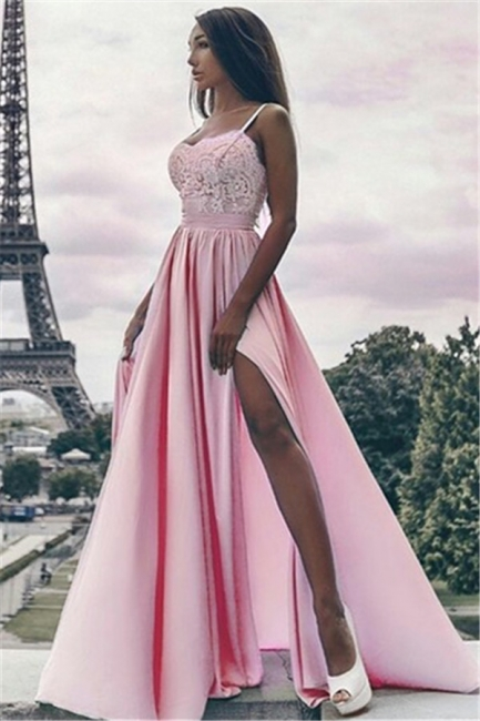 Sexy Side Slit Spaghetti Straps Prom Dresses  Pink Appliques Formal Evening Gown