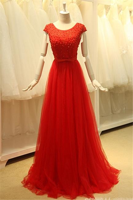 Short Sleeve Red Tulle Lace Long Prom Dresses with Beadings Open Back Elegant Designer Zipper Custom Dresses for Juniors