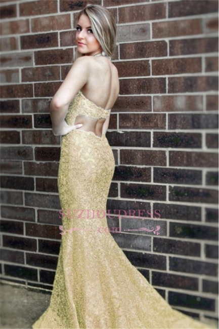 Simple Sleeveless Mermaid Formal Dresses | Halter Open-Back Lace Evening Dress