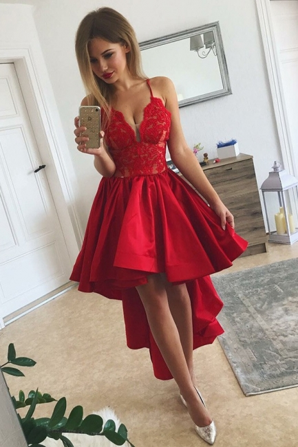 Red Hi-lo  Homecoming Dresses | Spaghetti Straps Lace Short Evening Dresses