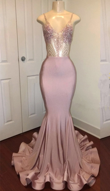 Spaghetti Straps Sparkling Beads Prom Dresses |  Pink Sequins Sexy Backless Evening Gown BA8240