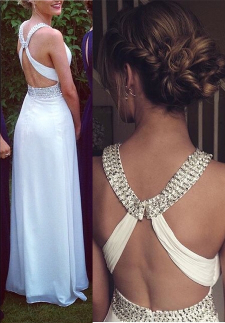 Crystal White Halter A-Line Prom Dress with Beadings Crossed Chiffon Long Dresses for Women