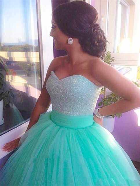 Cute Sweetheart Crystal Long Prom Dress Light Green Tulle Ball Gown Quinceanera Dresses CJ0358