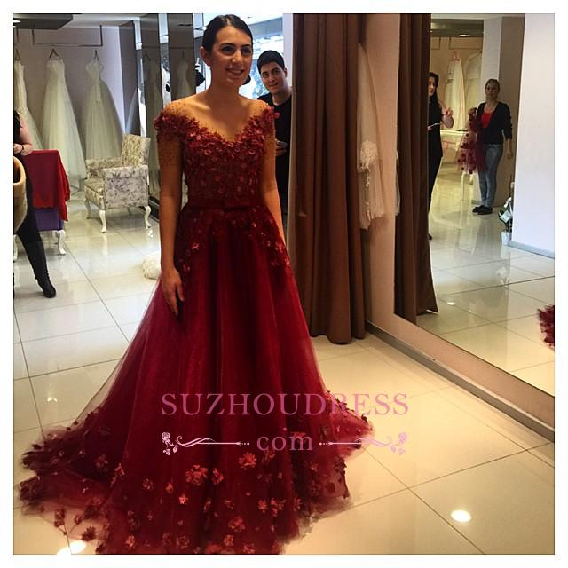 Formal 3D Floral Appliques Formal Off-the-Shoulder Puffy Red Evening Gowns