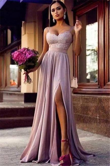 Sexy Straps Lace Split Prom Dress  | Sleeveless Lavender Long Formal Evening Dress