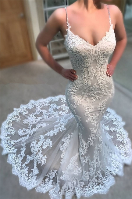 Gorgeous Mermaid Appliques Wedding Dresses Spaghetti Straps Lace Bridal Gowns On Sale