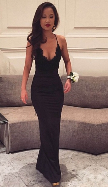 Sexy Black Halter Formal Party Dress Mermaid Lace Spaghetti Straps Evening Gowns  BA4216