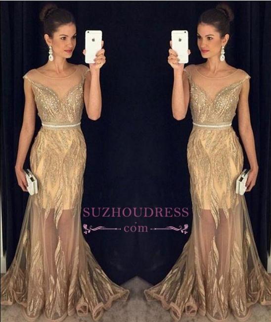 Sleeveless New Beadings Sexy Mermaid Sweep Train Scoop  Prom Dresses GA081