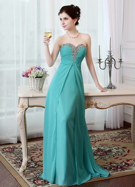 A-Line Crystal Sweetheart Chiffon Long Evening Dress with Rhinestones Popular Lace-up Empire Prom Dress