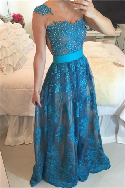 Lace Beadings Cute  Latest Prom Dresses Sheer Back Plus Size Formal Occasion Dress BMT011