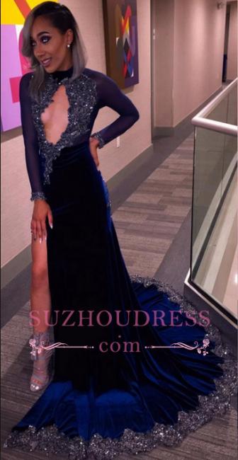 High Slit Long Sleeves Velvet Evenikng Dress  Sexy Keyhole Sequins Halter  Velvet Prom Dress BA4812