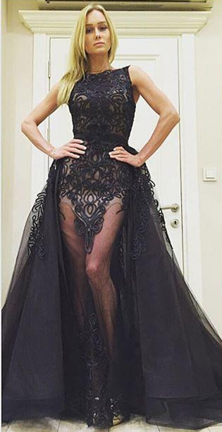 Chic  Black Evening Dresses Overskirt Sexy long Prom Gowns
