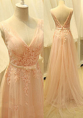 Pink Deep V Neck Shher Tulle Long Prom Dresses with Appliques Bowknot Sash Open Back  Formal Evening Gowns