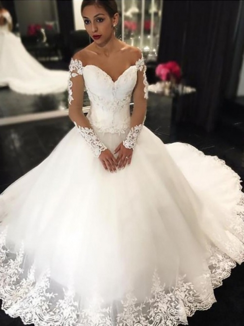 Glamorous Off-the-Shoulder Tulle Lace White Wedding Dresses Sweetheart Appliques Long-Sleeves Bridal Gowns Online