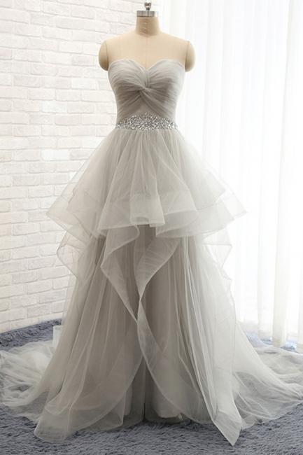 Ruffles Sweetheart Organza Prom Dress Beading Belt Grey Evening Gowns