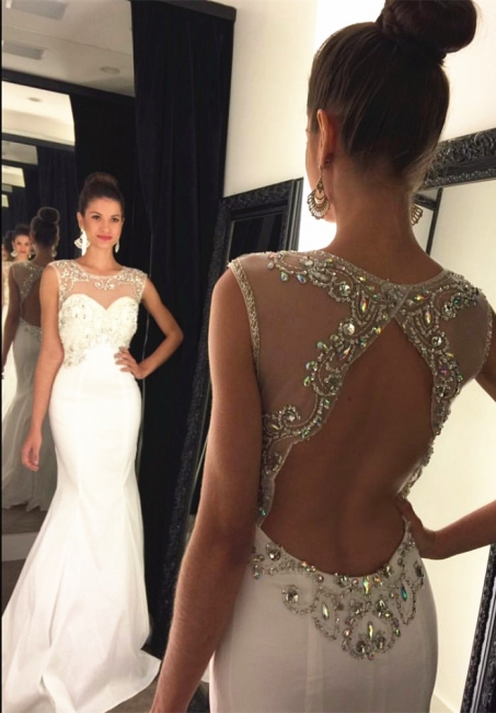 Gorgeous Halter Mermaid  Prom Dress Open Back Custom Made Evening Gown