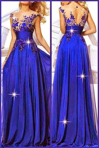 Jewelry Blue Sheer Chiffon Latest Evening Dresses Appliques Beading Elegant  Prom Dresses