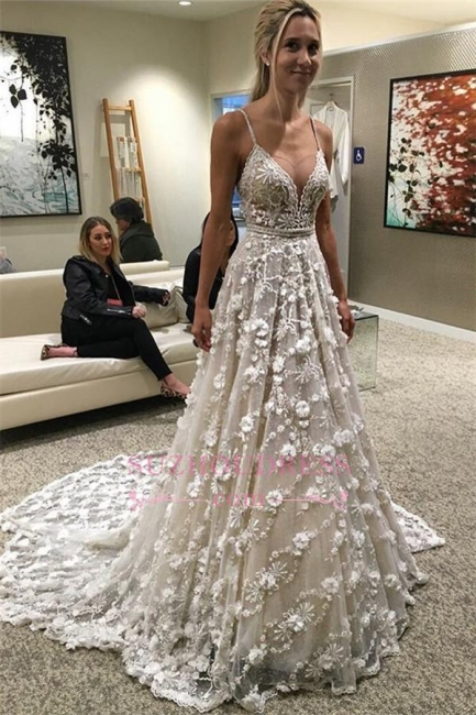 Spaghetti-Straps Gorgeous Sexy Flowers Backless Wedding Dress