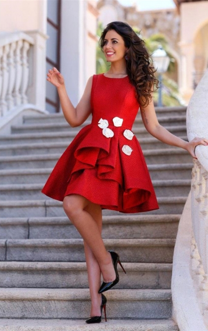 Cute Red Short Homecoming Dresses with Flowers  A-Line Mini Party Gowns