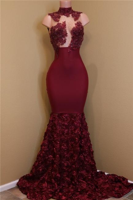 Burgundy Lace Prom Dresses with Roses Bottom | Sexy Sheath Sleeveless  Evening Dress Online BA8119