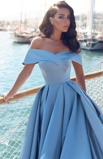 Off The Shoulder Blue Formal Dresses  Elegant Front Split Popular Evening Gown FB0095