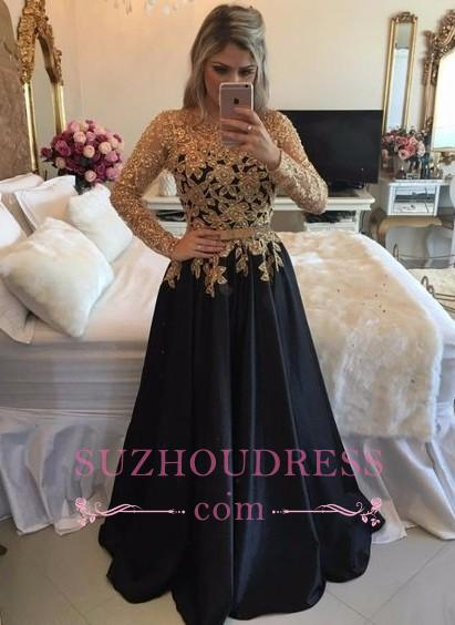 Black Long-Sleeves Gold Lace Puffy Pearls A-line Appliques Prom Dresses