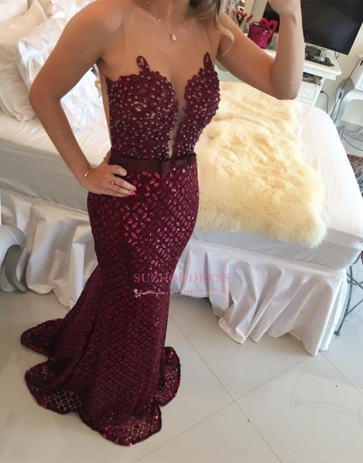 Sequined Mermaid Bow Sleeveless Evening Dress  Sweep Train Gorgeous Burgundy Prom Dress BMT209