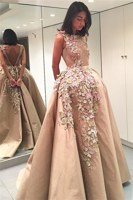 Colorful Butterflies Flowers Appliques V-Back Evening Dresses  Champagne Prom Dress