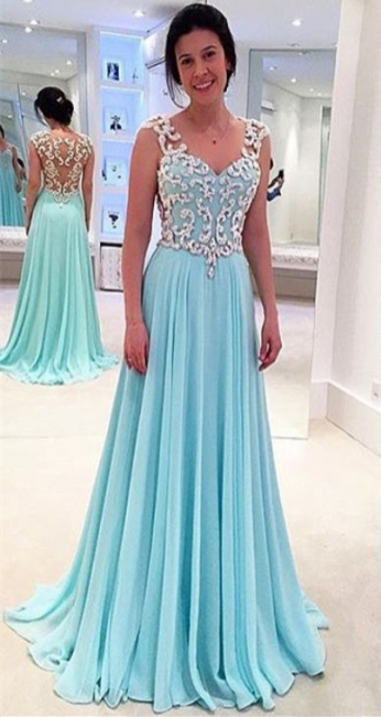Latest Blue Lace Chiffon Prom Dress A-Line Sweep Train Plus Size Formal Occasion Gowns JT022